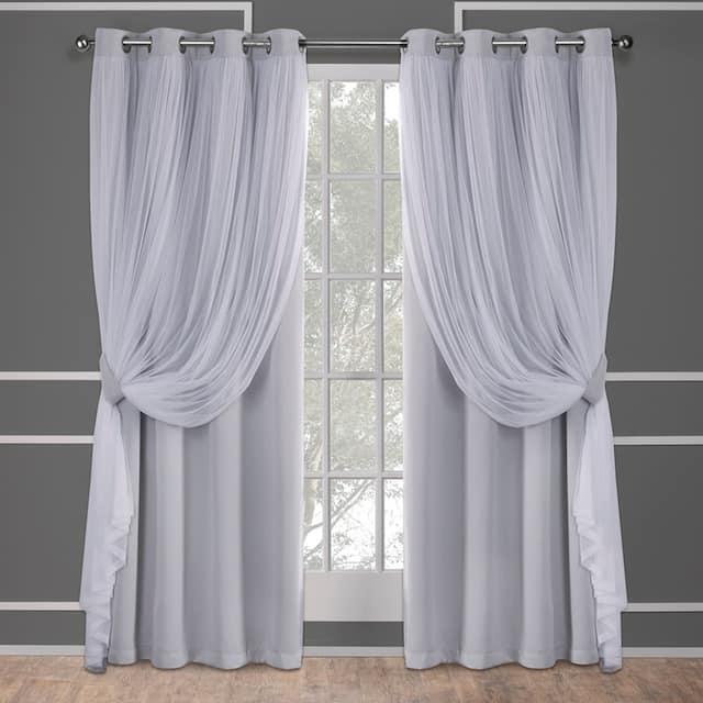 ATI Home Catarina Layered Curtain Panel Pair with grommet top - 52x108 - Cloud Grey