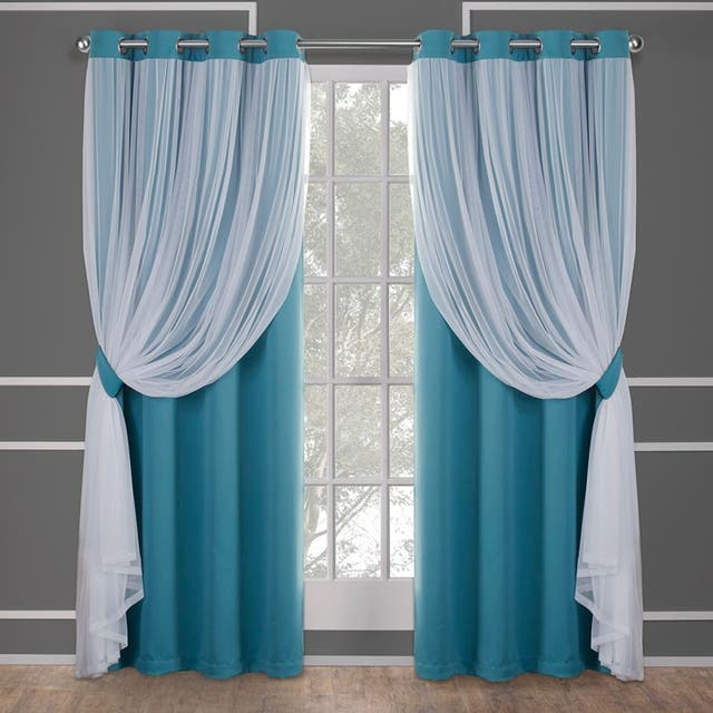 ATI Home Catarina Layered Curtain Panel Pair with grommet top - 52x108 - Turquoise