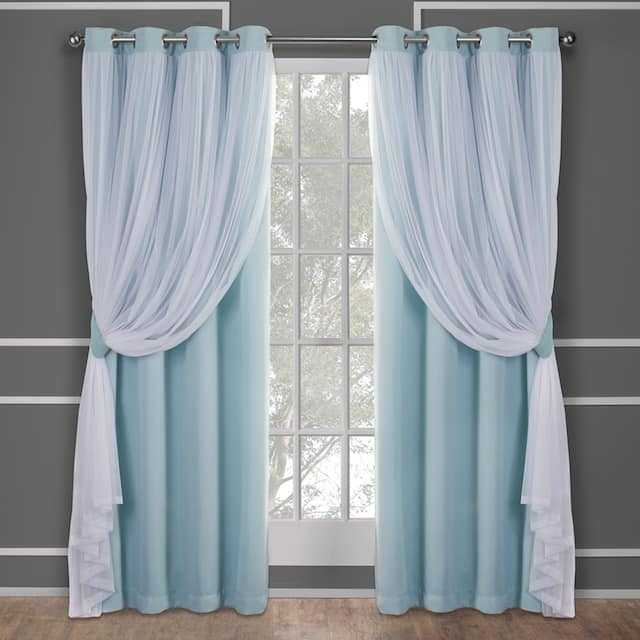 ATI Home Catarina Layered Curtain Panel Pair with grommet top - 52x84 - Aqua