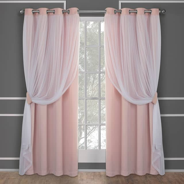 ATI Home Catarina Layered Curtain Panel Pair with grommet top - 52x96 - Rose Blush