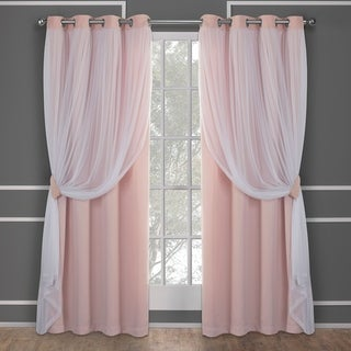 ATI Home Catarina Layered Curtain Panel Pair with Grommet Top (52W x 84L - rose blush)