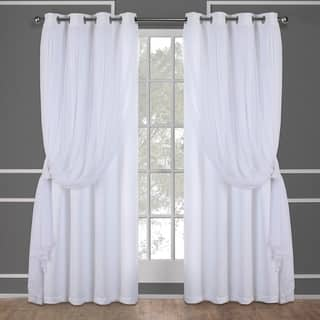 ATI Home Catarina Layered Blackout And Sheer Curtain Panel Pair W Grommet Top