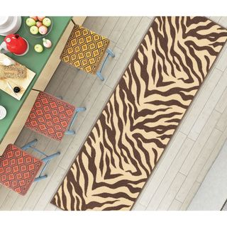"Well Woven Modern Animal Print Zebra Brown Non-Skid Backing Mat Accent Rug - 1'8"" x 5'"