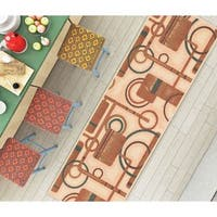 """Well Woven Modern Geometric Shapes Natural Non-Skid Backing Mat Accent Rug - 1'8"""" x 5'"""