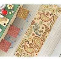 """Well Woven Modern Paisley Bold Ivory Non-Skid Backing Mat Accent Rug - 1'8"""" x 5'"""