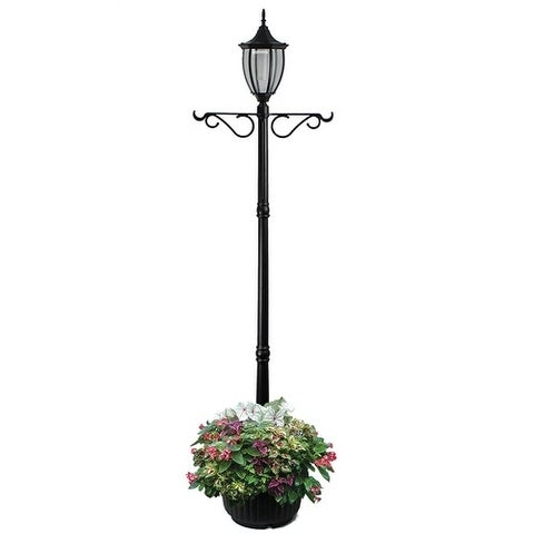 Crestmont Black Solar LED Lamp Post and Planter