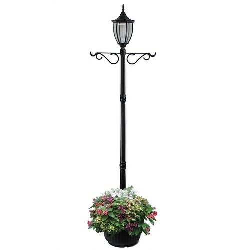 Shop Crestmont Black Solar Led Lamp Post And Planter Free Shipping