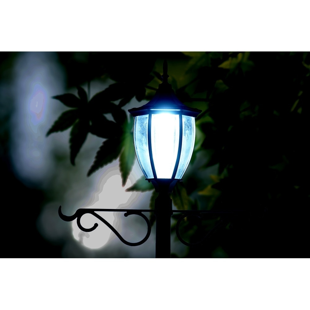 Sun Ray Crestmont Solar Lamp Post And Planter With Hanger Black