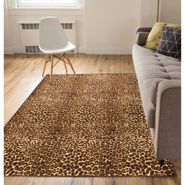 Shop Well Woven Modern Animal Print Leopard Brown Non Skid Backing
