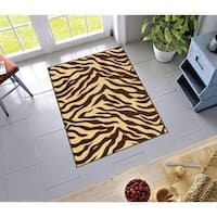 "Well Woven Modern Animal Print Zebra Brown Non-Skid Backing Rug - 3'3"" x 4'7"""