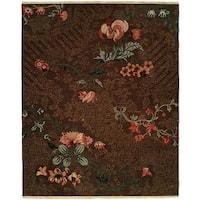 Caspian Brown Wool Soumak Area Rug (6' x 9')