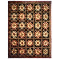Chantal Black Wool Hand-knotted Area Rug - 6' x 9'