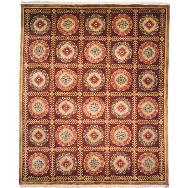 Chantal Plum Wool Hand-knotted Area Rug - 8' x 10'