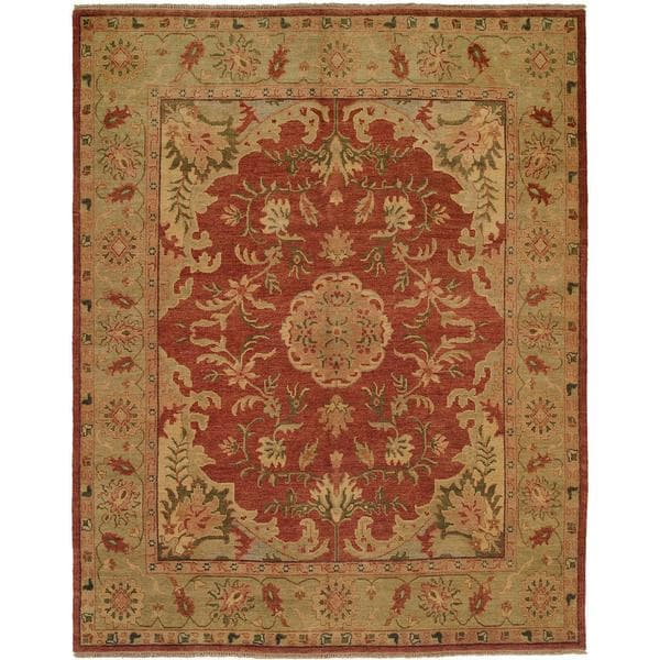 Carol Bolton Rust Red Hand-knotted Wool Area Rug (8' x 10') - 8' x 10'