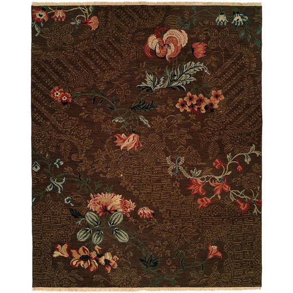 Caspian Soumak Brown Wool Area Rug (8' x 10')