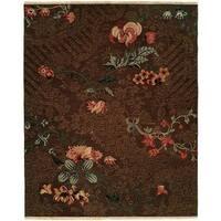 Caspian Soumak Brown Wool Area Rug - 8' x 10'