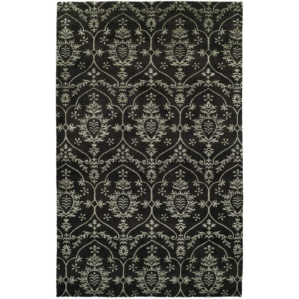 Gramercy Transitional Black Wool/Silkette Hand-knotted Area Rug (8' x 10')