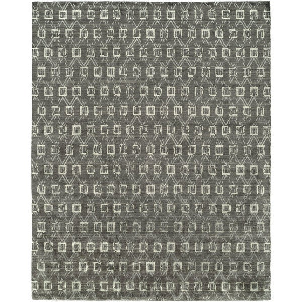 Gramercy Grey/Granite Viscose/Wool Hand-knotted Abstract Area Rug - 8' x 10'