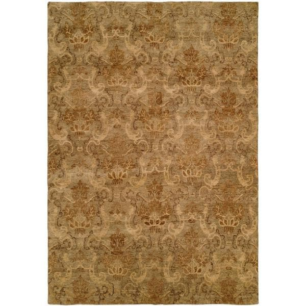 Royal Manner Derbshire/Green Wool Hand-knotted Area Rug (8' x 10') - 8' x 10'