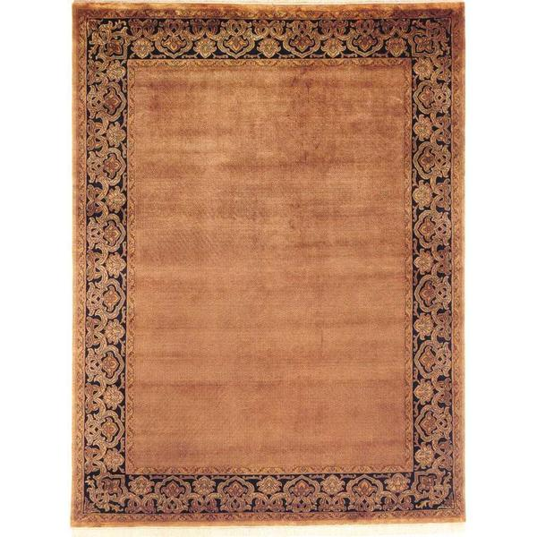 Agra Sand/Black Hand-Knotted Area Rug - 9' x 12'