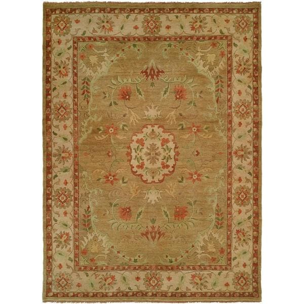 Carol Bolton Ivory/Gold Wool Hand-knotted Area Rug (9' x 12')
