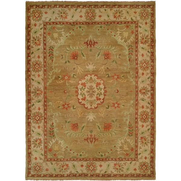 Carol Bolton Ivory/Gold Wool Hand-knotted Area Rug (9' x 12') - 9' x 12'