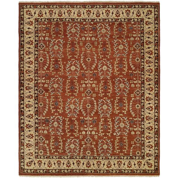 Allegro Spice/Beige Wool Hand-knotted Area Rug (10' x 14') - 10' x 14'