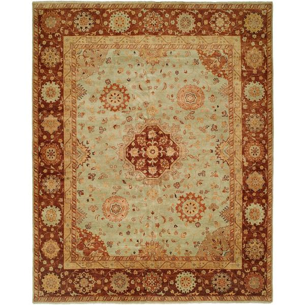 Antalya Pale/Pistachio Hand-knotted Wool Area Rug (10' x 14')