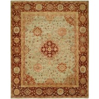 Antalya Pale/Pistachio Hand-knotted Wool Area Rug (10' x 14') - 10' x 14'