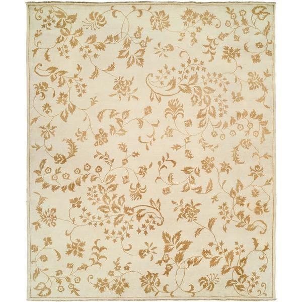 Carol Hicks Bolton Alabaster Leaf Hand-knotted Cream Wool/Cotton Indoor Rectangular Area Rug (10' x 14')