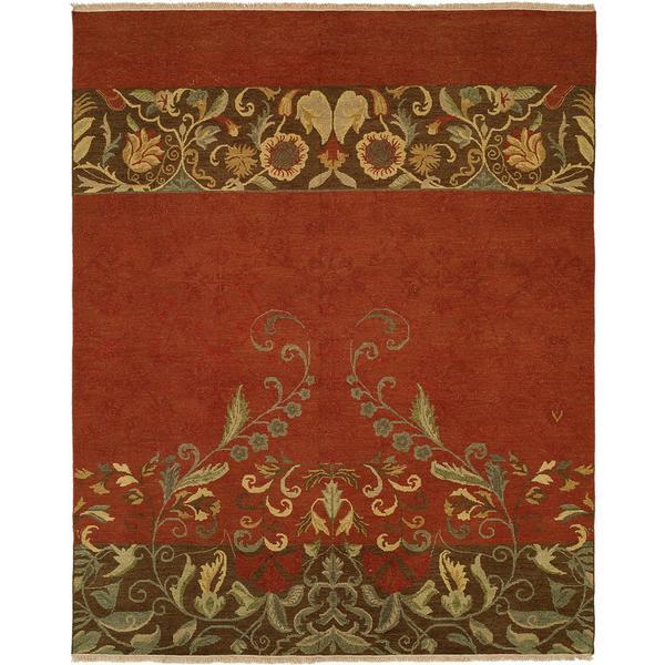 Caspian Soumak Multi/Red Wool/Cotton Reversible Area Rug - 10' x 14'