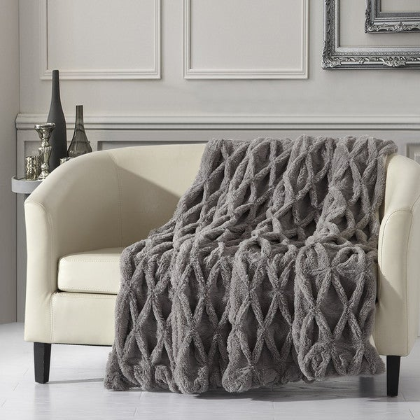 Chic Home Linus Ultra Plush Faux Fur Throw with Micromink Backing