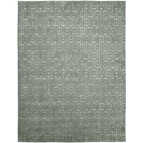 Gramercy Grey/Zinc Wool Viscose Hand-knotted Area Rug (10' x 14') - 10' x 14'