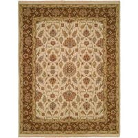 Caspian Ivory/Brown Wool Soumak Area Rug - 4' x 6'