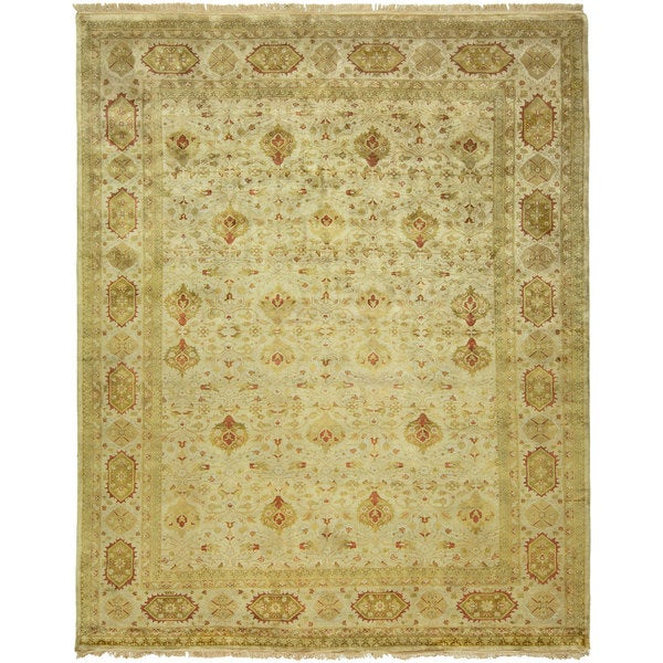 Agra Ivory Wool Hand-knotted Area Rug (8' x 10')