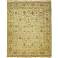 Agra Ivory Wool Hand-knotted Area Rug (8' x 10') - 8' x 10'