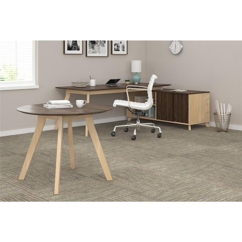 Ameriwood Home AX1 Walnut Executive Desk and Meeting Table Bundle