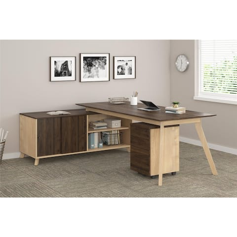 Ameriwood Home AX1 Walnut Executive Desk and Mobile File Bundle