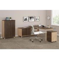 Ameriwood Home AX1 Walnut Executive Desk, Mobile File, and Storage Cabinet Bundle