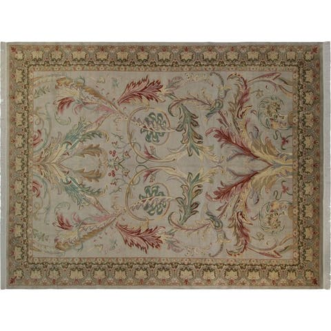 Bhati Pak-Persian Lucia Lt. Gray/Green Wool Rug (10'3 x 14'4) - 10 ft. 3 in. x 14 ft. 4 in. - 10 ft. 3 in. x 14 ft. 4 in.
