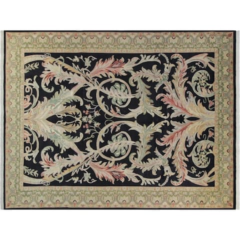 Bhati Pak-Persian Sallie Black/Green Wool Rug (10'2 x 14'1) - 10 ft. 2 in. x 14 ft. 1 in. - 10 ft. 2 in. x 14 ft. 1 in.