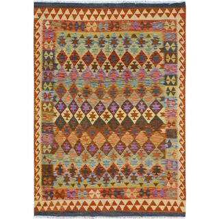 Kilim Arya Antonia Rust/Purple Wool Rug - 4'9 x 6'4