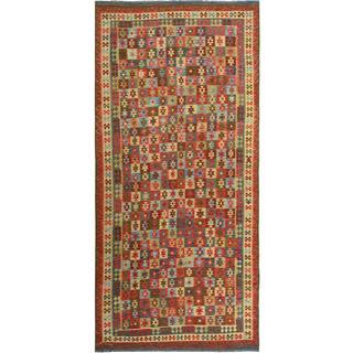 Arshs Kilim Arya Darron Red/Blue Wool Rug (8'1 x 16'6)