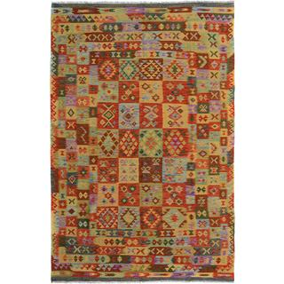 Kilim Arya Rayford Red/Gray Wool Rug (6'8 x 10'3) - 6 ft. 8 in. x 10 ft. 3 in.