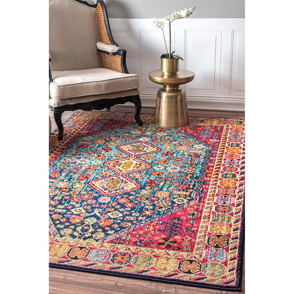 nuLoom Distressed Traditional Flower Persian Multicolored Rug