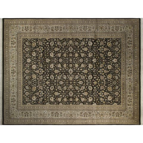 Tabriz Pak-Persian Jewel Charcoal/Gray Wool Rug (10'0 x 14'3) - 10 ft. 0 in. x 14 ft. 3 in. - 10 ft. 0 in. x 14 ft. 3 in.