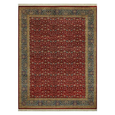 Tabriz Pak-Persian Stacie Red/Teal Wool Rug (10'1 x 13'11) - 10 ft. 1 in. x 13 ft. 11 in. - 10 ft. 1 in. x 13 ft. 11 in.