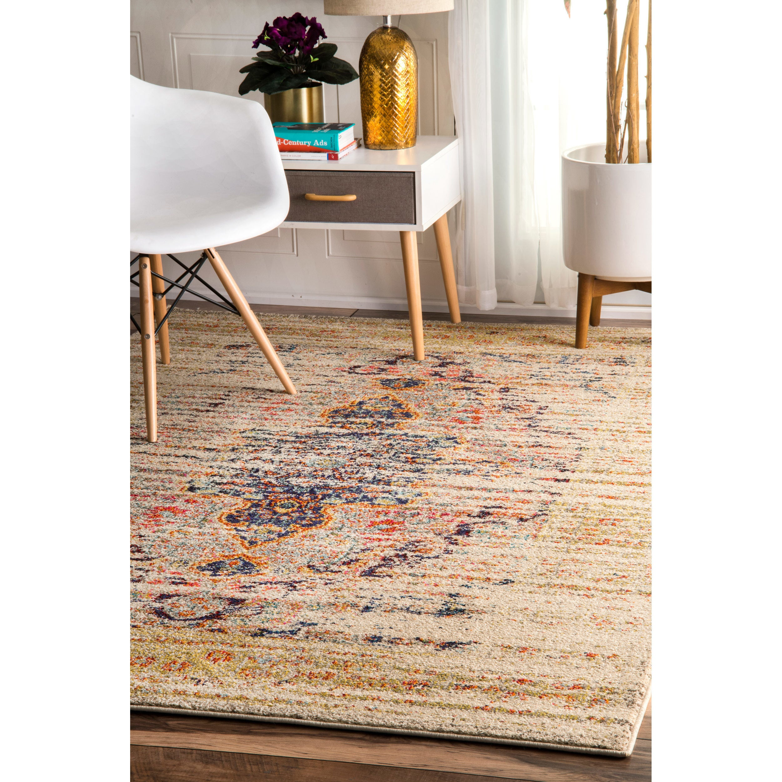 The Gray Barn Joad Distressed Traditional Vintage Medallion Sand/ Multicolored Indoor Rectangular Rug - 6'7 x 9'