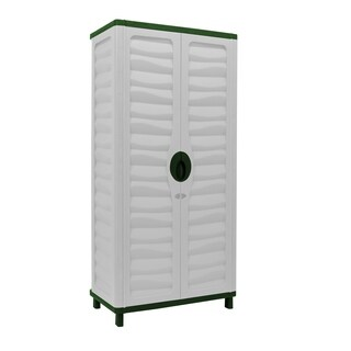Cabinet with Vertical Partition & 2 shelves, Beige/Green