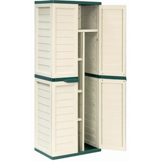 Cabinet with Vertical Partition & 4 shelves, Beige/Green